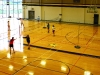 Freshmen begin playing badminton in their PE class April 15. Freshmen started badminton tournaments in gym classes, while PE teacher Stacie O'€™Rear invited all grades to play during activity periods. by Casey Campo
