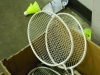 Rackets and birdies lie in a box after freshmen played badminton matches during their PE class on April 15. Freshmen started badminton tournaments in gym classes, while PE teacher Stacie O'Rear invited all grades to play during activity periods. by Casey Campo