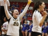 Sophomore Macy Bauers and senior Mary Keller celebrate at the volleyball state championship  in Cape Girardeau, Missouri on Oct. 28. photo courtesy of Catelyn Campbell
