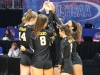 STA volleyball players huddle before a game at the volleyball state championship  in Cape Girardeau, Missouri on Oct. 28. photo courtesy of Catelyn Campbell