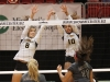 Seniors Mary Keller and Gabby Wimes block the ball at the volleyball state championship  in Cape Girardeau, Missouri on Oct. 28. photo courtesy of Catelyn Campbell