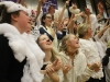 A group of seniors cheer as the Stars score during their varsity basketball game against Sion Jan. 29. STA students dressed as sheep for the game. photo by Kat Mediavilla