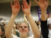 Senior Maddie Watts, center, puts her hands up for good luck during a free throw at the STA varsity basketball game Jan. 29. photo by Kat Mediavilla
