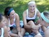 Freshman Lindsey O'Leary, from left, sophomores Emily O'Neil, Gabby Keller, Meg Thompson and junior Maddie Thompson laugh during a tennis match against St. Joseph Central High School Sept. 25 at Homestead Country Club. The stars won 7-2.