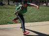 Junior Savaria Goodman practices throwing shotput during practice, March 31. photo by Arinna Hoffine