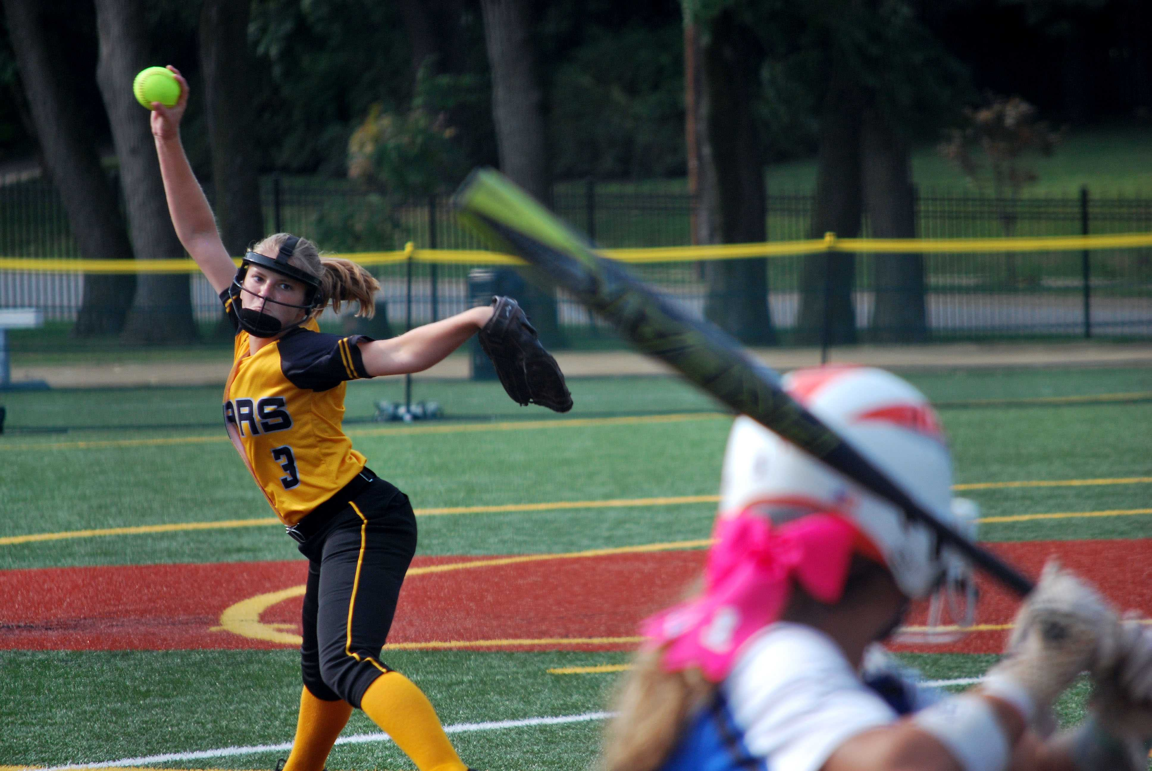 Senior Maddie Watts throws a pitch in the game against St. Joseph Central Aug. 27. photo by Libby Hutchinson