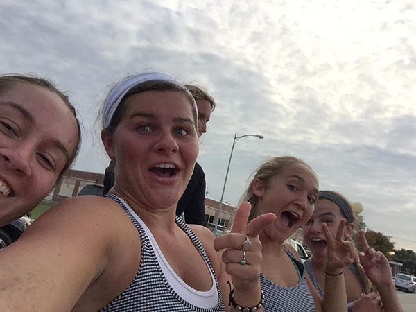 Members of the tennis team pose for selfie. photo courtesy of Mary Claire Connor