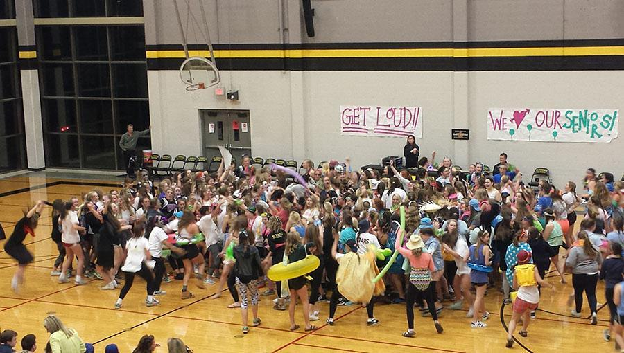 STA and Sion students join in a dance party after the game. photo by Claire Molloy