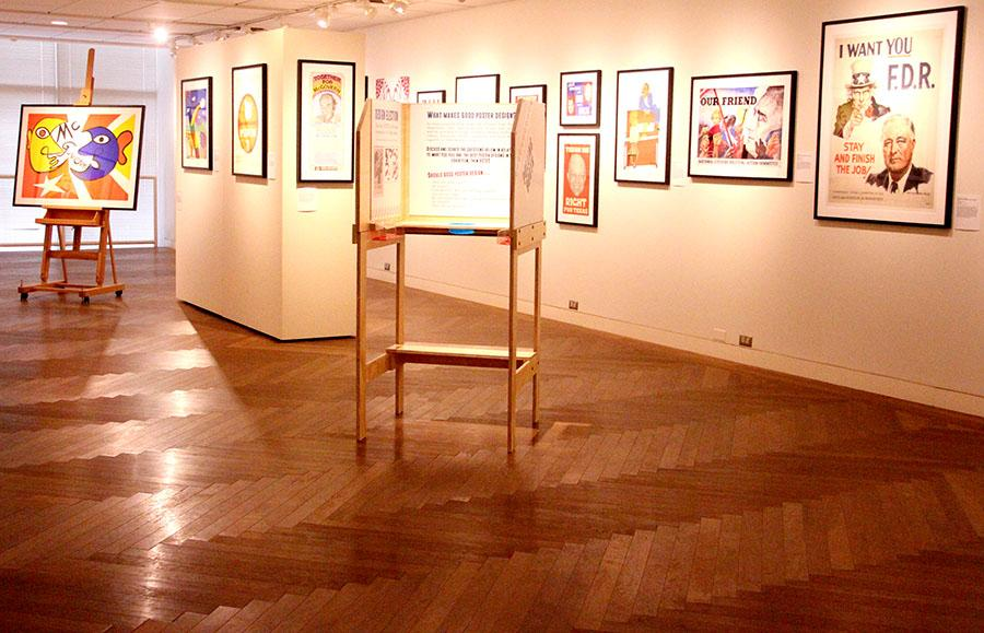 The central library in Downtown Kansas City showcased a political poster exhibit. photo by Kate Jones