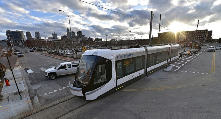A+streetcar+to+be+delivered+to+Kansas+City+is+offloaded+from+its+trailer+Feb.+3+in+Kansas+City%2C+Mo.+The+city+is+on+schedule+to+begin+service+in+April.+photo+courtesy+of+Tribune+News+Service
