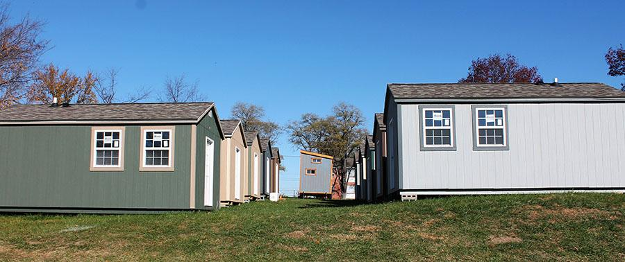 The tiny house community is being built by the Veterans Community Project at 89th and Troost on Nov. 19. photo by Meghan Baker