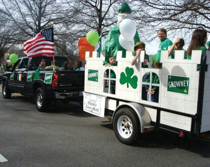 The+Growney+family+rides+on+their+family+float+at+the+Brookside+St.+Patrick%27s+Day+Parade.+photo+courtesy+of+Megan+Lewer