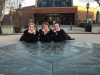 Seniors from left, Kat Mediavilla, Hallie Ryan and Maddy Medina pose on the seal at St. Teresa's Academy. photo by Bridget Jones.