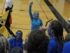 Spirit Club members lead STA students dressed as avatars in cheers during the STA vs. Sion varsity volleyball game in Goppert Sept. 16. photo by Maddy Medina
