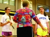 PE teacher Stacie O'Rear, front, coaches freshmen Ellie Petree, left, and Clare Cain during their gym class April 17.  Freshmen started badminton tournaments in gym classes, while O'€™Rear invited all grades to play during activity periods. by Casey Campo
