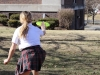 Junior Laura Dierks catches a Frisbee from a friend Jan. 28 in the quad. photo by Maggie Knox