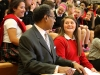 Senior Maggie Hodes laughs with Congressman Emanuel Cleaver at the all school assembly regarding Hodes' letter. photo by Violet Cowdin