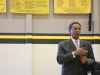 Congressman Emanuel Cleaver looks out at the St. Teresa's student body during his speech about lobbying April 4th. photo by Violet Cowdin