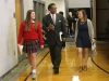 Congressman Emanuel Cleaver walks with Maggie Hodes and Anne Papineau into the St. Teresa's gym on April 4th. Both Hodes and Cleaver proceeded to make speeches about lobbying. photo by Violet Cowdin