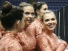 Seniors Alex Mullins and Lily Walsh look out to the crowd moments before their first dance at Kemper Arena. photo by Anna Hafner