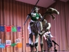 An actor dressed as Don Quixote brawls with Jose Guadalupe Posada during their porformance,