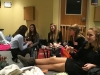 A group of STA students sits around eating and talking at FBLA Districts Jan. 8. photo by Anna Hafner