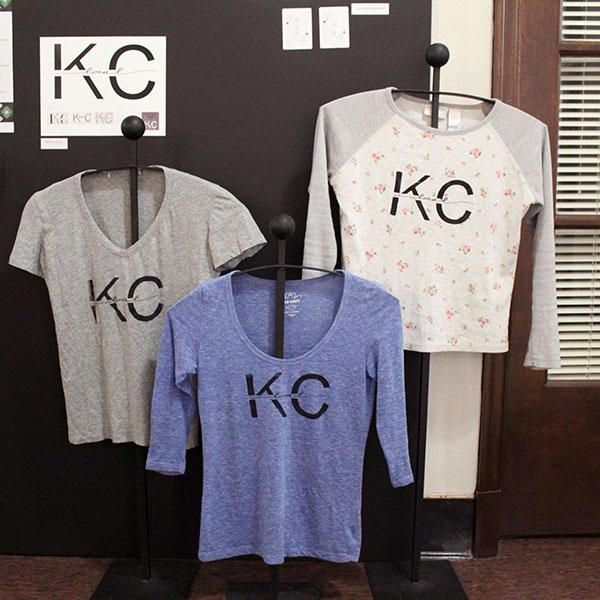 Senior Jewell Allen created a line of Kansas City clothing. She and her sister, Emma Allen, STA alumna of 2013, collaborated to sell these locally made shirts. photo by Meg Thompson