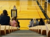 STA students gather to answer Olympian Courtney Frerichs questions in the gym Aug. 29. photo by Cassie Hayes