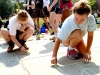 Senior Maureen Whittaker and Freshman _______ work on their chalk drawing for the Gargallo Advisory Sep.4. photo by Violet Cowdin.