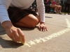 Stars are sketched out at the Frosh Fest chalk drawing contest Sep.4. photo by Violet Cowdin