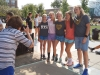 Freshman pose for a photo taken by Kathleen Barry during the chalk contest Sep.4. photo by Violet Cowdin