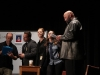 Steven Perry, Nielsen, Absher, Anne Papineau, and Brad Lewis (from right) stand on stage and discuss the disappearance of senior class president Kat Mediavilla.