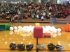 Helmets, hippos, and balloons sit out in front of the student body for the hungry hungry hippos game Feb. 4. The object of the game was to collect as many balloons before the time runs out. photo by Paige Powell