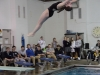 Armstrong preforms a back dive. The STA swim and dive team won the meet against Sion. photo by Libby Hutchinson
