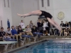 Armstrong finishes her back dive. Diving at a six-dive meet is scored by three judges. photo by Libby Hutchinson