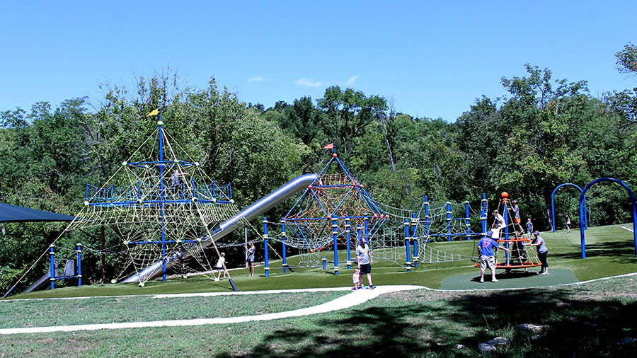 Children and parents play at Valley Park in Grandview, Missouri Aug. 21. photo by Meghan Baker