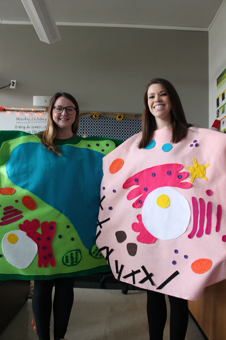 Science teachers Ms. Lueke and Mrs. Stranz dress as an animal cell and a plant cell for Halloween on Oct. 31. Students were allowed to wear costumes on Halloween if they donated canned food to Food for Thought. photo by Meghan Baker