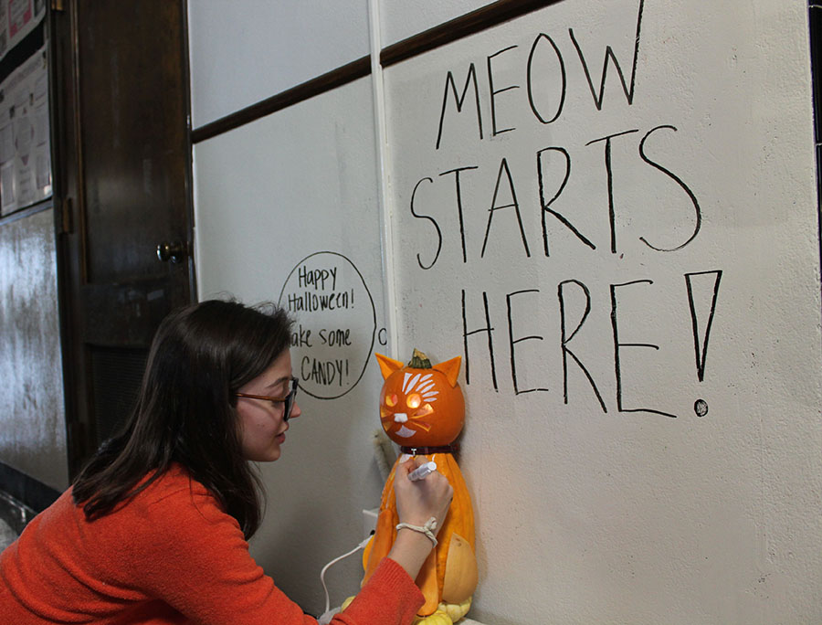 Senior Emma Stiles from the Montag advisory decorates their pumpkin at St. Teresa\'s Academy on Oct. 31. The Montag advisory won first place in the Donnelly building. photo by Meghan Baker