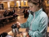 Freshman Sophie Slocomb makes coffee at Starcups at St. Teresa's Academy on Nov. 13. Starcups serves breakfast food, coffee and tea every friday morning. photo by Meghan Baker