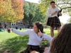 Junior Lauren Lynch takes a selfie in the quad at St. Teresa's Academy on Oct. 17. Photo by Meghan Baker.