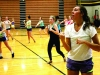 Senior Sara Meurer helps teach the dance routine to some girls. Meurer, along with senior Caroline Fiss, choreographed the audition routine and helped teach the dance at the dance tryouts. by Viridiana Hernandez
