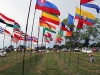 Flags of each country represented at The Ethnic Enrichment Festival line the walkway into the event. Photo by Helen Krause