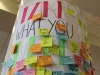 A column in the Commons stands covered with kind Post-It Notes March 30. The activity was sponsored by the Peer Helpers as part of Kindness Month. photo by Maggie Knox