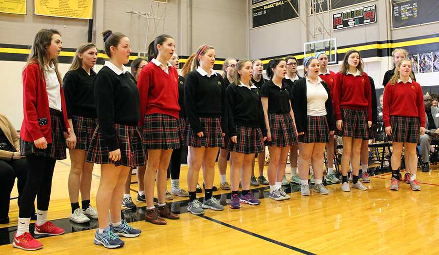 The STA Singers choir sings the STA Alma Mater to open the Mother Evelyn O'Neill Service Award Ceremony. photo by Bridget Jones.