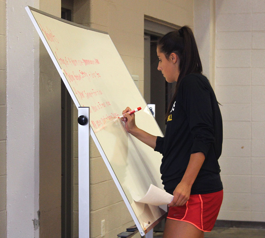 Volleyball coach Lauren Brentlinger writes strategy on the white board during practice. photo by Paige Powell