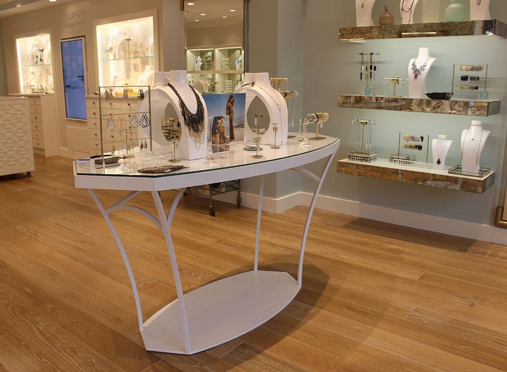 Inside Kendra Scott Jewelers is a display of neckalces and bracelets. photo by Kat Mediavilla