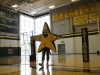 """STA mascot, Twinks, dances at the pep rally Sept. 25. Twinks was the """"star"""" of Spirit club's video, which was based off of the television show """"The Bachelor."""" photo by Anna Hafner"""