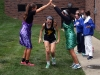 Senior Libby Terril practices for the annual fall sports pep rally along with Junior Mia Schloegel and senior Gabby Ayala. photo by Cassie Hayes