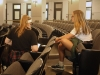 Junior Victoria Cahoon interviews senior Meg Rohr about pep rally skits being planned by the Spirit Club. photo by Cassie Hayes
