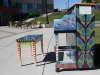 A piano painted by students at Oak Park High School sits near Gladstone's Linden Square. About 100 pianos were placed around Kansas City to commemorate Keys 4/4 Kid's 100th anniversary. photo by Cassie Hayes